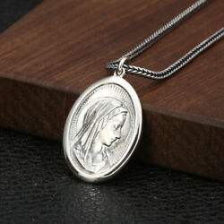925 Sterling Silver Necklace Pendant Virgin Mary Head Male Lady Pendant