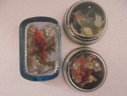 Lot Of 3 Vintage Clear Glass Paper Weights-2 Domes -1 Rectangle Handmade Filling