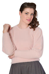 Banned Apparel Retro Luxury Soft Pink Cuddly Puff Sleeve Ribbed Jumper - Sale
