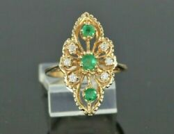 14k Yellow Gold Colombian Green Emerald Diamond Cocktail Ring