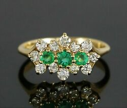 14k Yellow Gold Round Natural Green Emerald Diamond Cocktail Ring Band