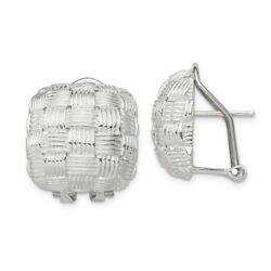 Sterling Silver Square Basket Weave Button Earrings