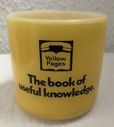 Vintage Federal Glass Mug Cup Yellow Pages Telephone Advertising Milk Glass