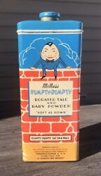 Vintage Humpty Dumpty Borated Talc And Baby Powder Tin Furst-mcness Co Excellent