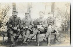 Ww1 Four German Army Soldiers 1918 Photo Card Free Shipping