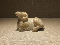 Chinese Han Dy. Old White Jade Carved Lovely Sheep Figure Statue