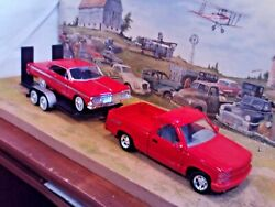 124 Scale Diecast3 Pc Setred '92 Chevy 454 Pickup,'64 Impala Ss And Car Trailer