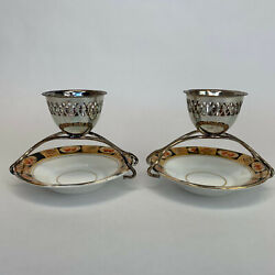 Early Royal Albert Crown China Imari Gold Silver Plated Egg Cups And Saucers