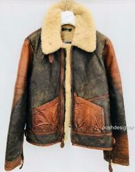 Polo Brown Shearling Leather Coat M New Auth Jacket Rrp2500gbp