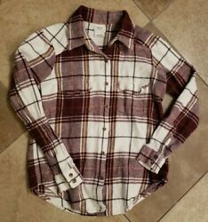 Womens Rvca 100 Cotton Plaid Flannel Button Up Shirt Marron/ivory, Size Small