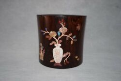 6.1 Old China Huanghuali Wood Treasure Inlay Plum Blossom Butterfly Brush Pot