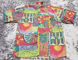 The Territory Ahead Mens L Vintage Green Red Abstract Button Hawaiian Shirt