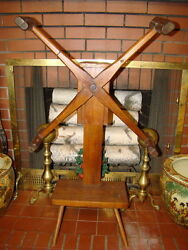 Antique Wooden Yarn Winder Spinner With Brass Square Nails