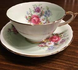 Paragon Tea Cup And Saucer Bone China By Appointment Pastel Green Pink Rose Floral