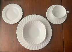 4 - Johnson Brothers China Regency White 5 Piece Place Setting - Gift Quality