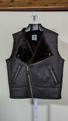 Tom Of Finland Clothing Vintage 90s Black Leather Shearling Fur Moto Vest Small