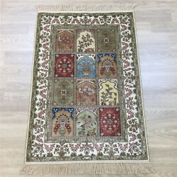 Yilong 2and039x3and039 Garden Scene Handknotted Silk Rug Four Seasons Oriental Carpet 142a