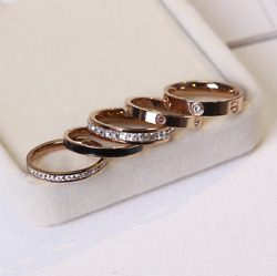 New Premium High Quality Stainless Steel Love Ring Rose / Gold / Silver