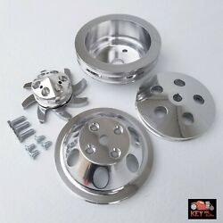 Small Block Chevy Polished Aluminum 4 Pulley Set 1 2 Groove Long Pump 350 400
