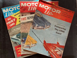 Vintage Motor Life Magazines - March, Sept And Dec 1956 Customs 1957 Car Reviews