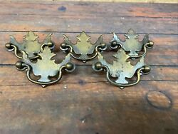 Antique Lot Of 5 Small Brass Metal Drawer Pulls For Hutchdressercabinet Etc