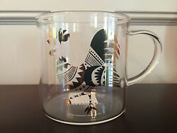 Starbucks 2017 Chinese Lunar New Year Rooster Clear Glass Coffee Mug - New