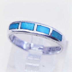 Sz 8 Native American Bell Trading Post Sterling Silver Ring 925 Band Turquoise