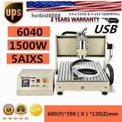 Usb 5 Axis Cnc 6040z Router Engraving Wood Drill/milling Machine 1.5kw+handwheel