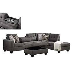 Kourtney Dark Gray Fabric Reversible Sofa Sectional With Dropdown Table...
