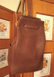 COACH Bucket Drawstring Backpack Chestnut Brown Leather X Large 4922 VTG Italy $149.99