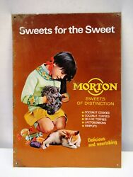 Vintage Morton Sweets Confectionery Advertising Tin Sign Girl Cat Collectibles2
