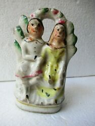 Antique English Pottery Staffordshire Figurines Couple Man And Woaman Rare quot;F7