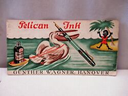 Antique Pelican Ink Swan Made In Germany Advertising Sample Card Blotter Paper