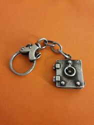 Antique Sterling Silver Picture Locket Gothic Key Ring. Safe Treasure Shape.