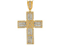 10k Or 14k Yellow Gold Baguette And Round Cz Accented Huge Latin Cross Pendant