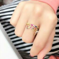 30 Clearancenwt 1909 Rare 18kt Gold Fancy Rainbow Color Love Sapphire Ring