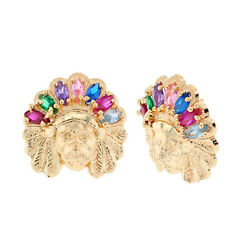 10k Or 14k Yellow Gold American Native American Indian Cz Accented Earrings