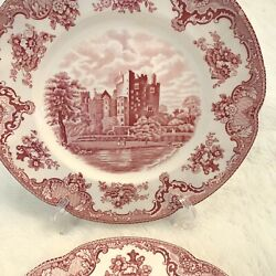 Set Of 9 Platter Johnson Brothers Old Britain Castles Red Dinner Plates England