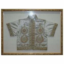 19th Century Chinese Silk Embroidered Ceremonial Jacket In Display Picture Frame