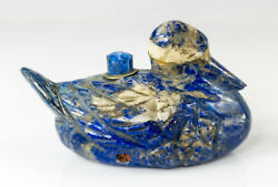 Antique Chinese Carved Lapis Lazuli Hardstone Duck Form Service Bell As Is