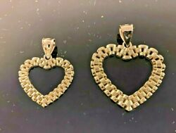 10k Solid Yellow Gold Presidential Link Heart Love Pendant