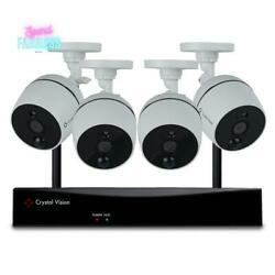 8-channel Wireless Surveillance System With 1080p Full Hd Audio Camera White New
