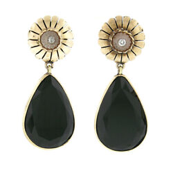 Antique 18k Gold Teardrop Faceted Black Onyx W Diamond And Camphor Dangle Earrings