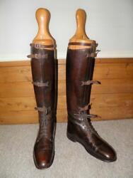 Antique Ww1 John Skinner Military Brown Leather Field Boots Uk 7 With Wood Trees