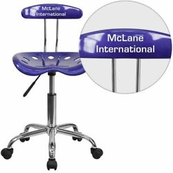 Personalized Vibrant Deep Blue And Chrome Task Chair With Tractor Seat