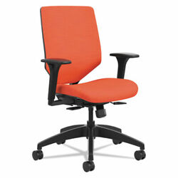 Hon Solve Task Chair Upholstered Back - Fabric Red Seat - Red Back - 5-star