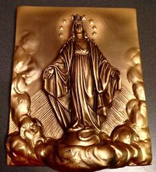 Vintage Bronzed 3d Wall Plaque Sculpture Lady Of Grace- Chalkware Signed 1-22