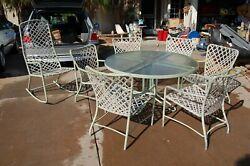 Mid Century Brown Jordan Tamiami Set Of 6 Patio Chairs Rocker And Table Green Rare