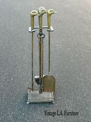 Vintage French Country Gold Brass Fireplace Tools W Duck Head Handles