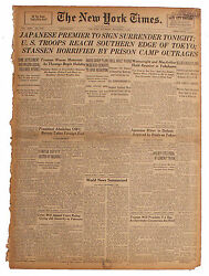 Ny Times 1945 Japanese Premier 2 Sign Surrender Tonight